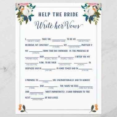 Help the Bride Write Her Vows Bridal Shower Game