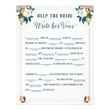 Help the Bride Write Her Vows  Game Flyer