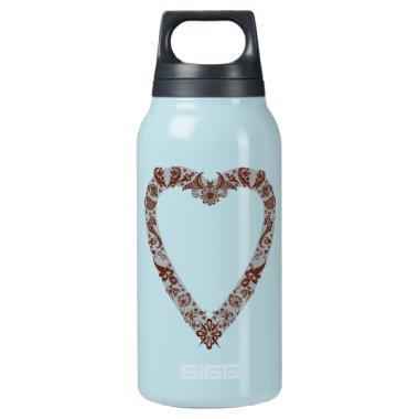 Henna Heart Design Insulated Water Bottle