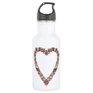 Henna Heart Design Water Bottle