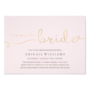 Simple bridal shower invitations unique bridal shower here comes the bride shower filmwisefo