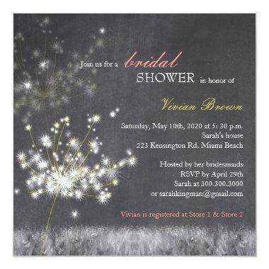 Hip Dandelion Chalkboard Bridal Shower Invitations