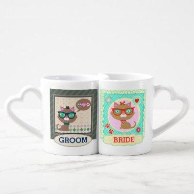 Hipster Cat Couple Bride & Groom Mugs