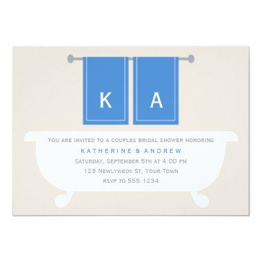 His and Hers Towels Bridal Shower {blue} Invitations
