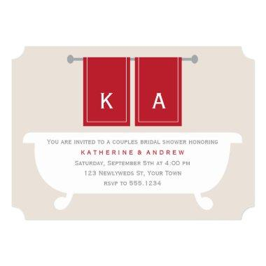 His and Hers Towels Bridal Shower {red} Invitations