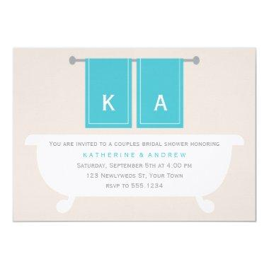 His and Hers Towels Bridal Shower {teal} Invitations