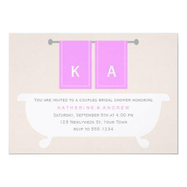 His and Hers Towels Bridal Shower {violet} Invitations