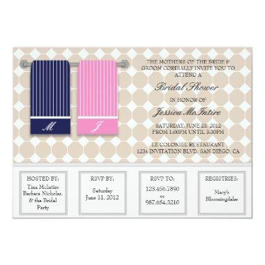 His and Hers Towels Modern Bridal Shower Invitations