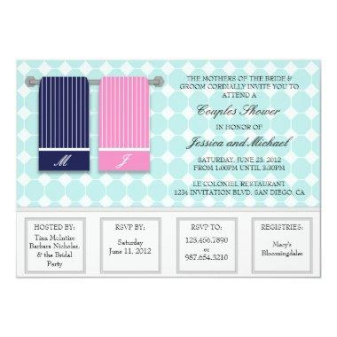His and Hers Towels Modern Couples Shower Invitations