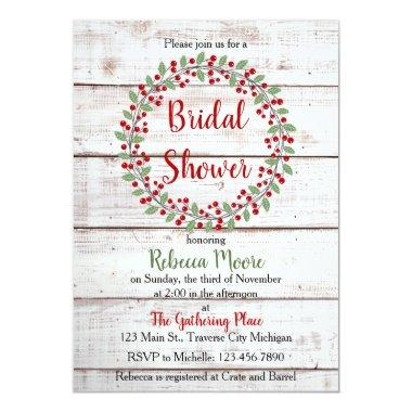 Holiday Charm II Winter/Christmas Bridal Shower Invitations