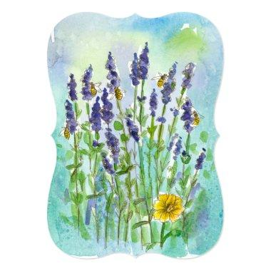 Honey Bee Lavender Watercolor Flower