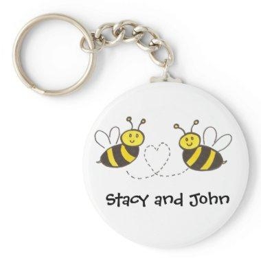 Honey Bees with Heart with Personalized Name Keychain