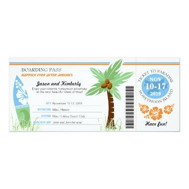 Honeymoon Gift Boarding Pass Palm Tree Surf Board Invitations