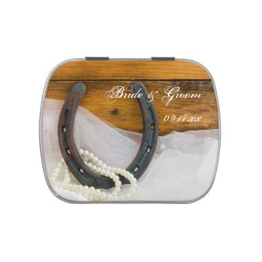 Horseshoe and Pearls Country Western Wedding Favor Candy Tin