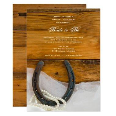 Horseshoe, Pearls Barn Wood Western Bridal Shower Invitations
