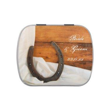 Horseshoe Satin Country Western Wedding Favor Candy Tin