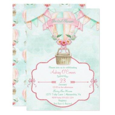 Hot Air Balloon Watercolor Pink Mint Peach Invitations