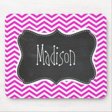 Hot Magenta Chevron Stripes; Retro Chalkboard look Mouse Pad