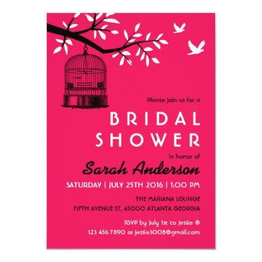 Hot Pink Bird Cage Bridal Shower Invitations