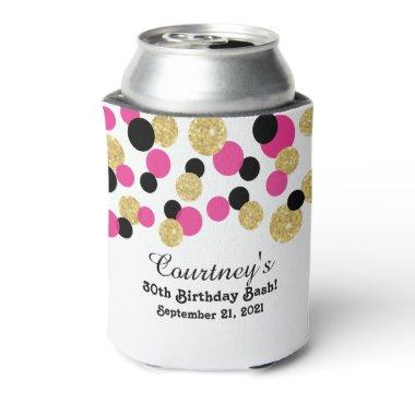 Hot Pink, Black and Gold Glitter Confetti | 30th Can Cooler