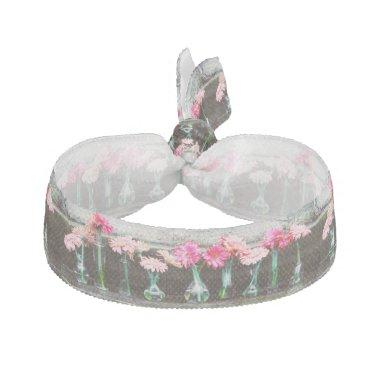 Hot Pink Daisy Ribbon Hair Tie