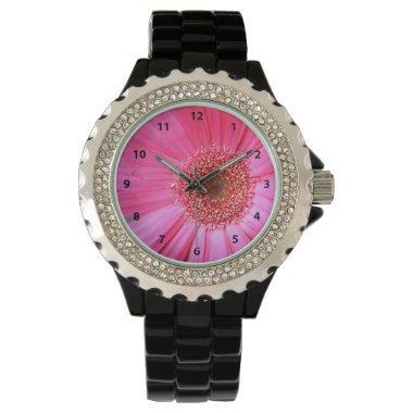 Hot Pink Daisy Wrist Watch