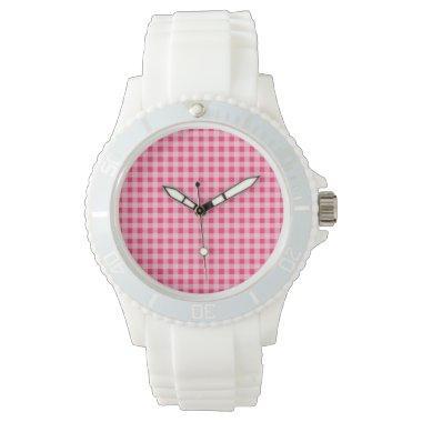 Hot Pink Gingham Wristwatch