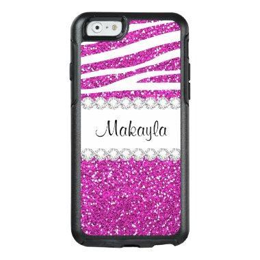 Hot Pink Glitter Zebra OtterBox iPhone 6/6s Case