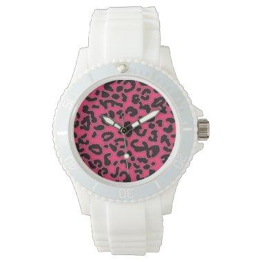 Hot Pink Leopard Animal Print Watch