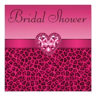 Hot Pink Leopard Print & Bling Heart Bridal Shower Invitations