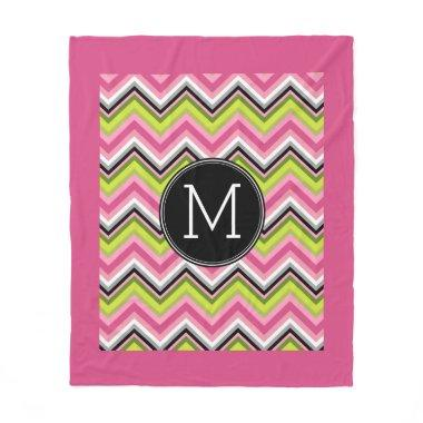 Hot Pink, Lime and Black Chevron Pattern Monogram Fleece Blanket