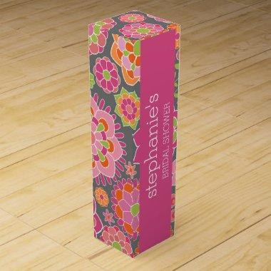 Hot Pink & Lime Green Flowers -  Wine Gift Box