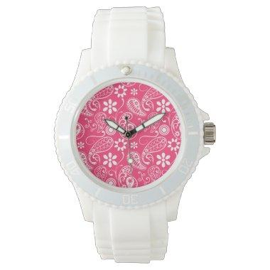 Hot Pink Paisley; Floral Wrist Watch
