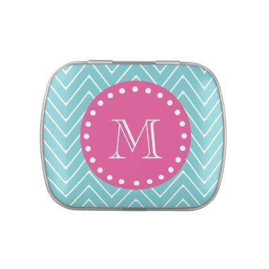 Hot Pink, Teal Blue Chevron | Your Monogram Jelly Belly Candy Tin
