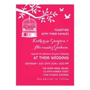 Hot Pink Vintage Bird Cage Wedding Invitations