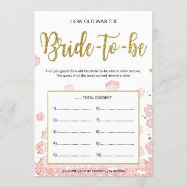 How Old Was the Bride-to-Be | Pink and Gold