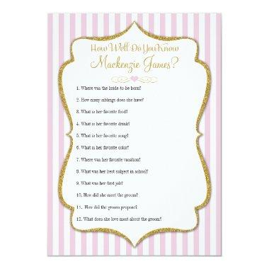 How Well Know The Bride  Game Pink
