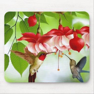 Humming Birds and Flowers Mouse Pad