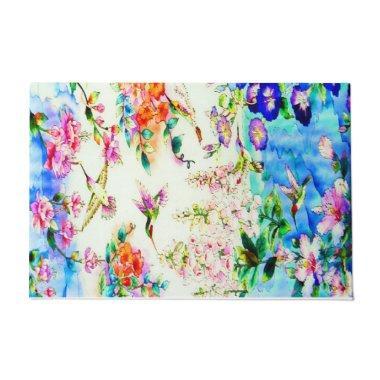 Hummingbird and Flowers Landscape Doormat
