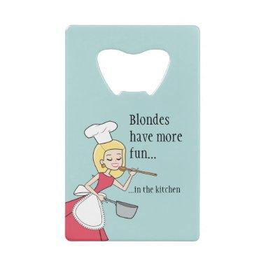 Humourous Blonde Retro Housewife Can Opener