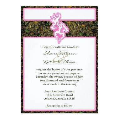Hunting Camo Pink Custom Outline Color Invitations