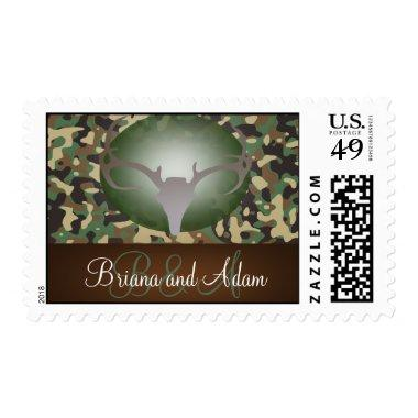 Hunting Theme Antlers Camo Wedding Postage