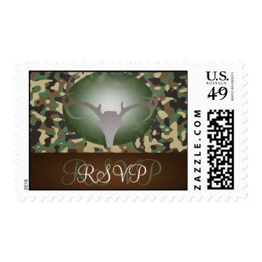 Hunting Theme Antlers Camo Wedding RSVP Postage