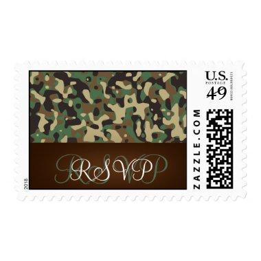 Hunting Theme Speckled Camo Wedding RSVP Postage
