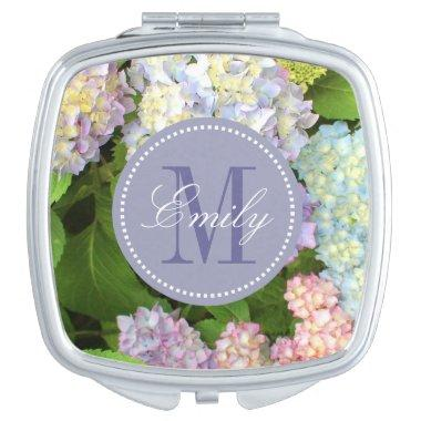 Hydrangea Flowers Monogram Personalized Compact Compact Mirror