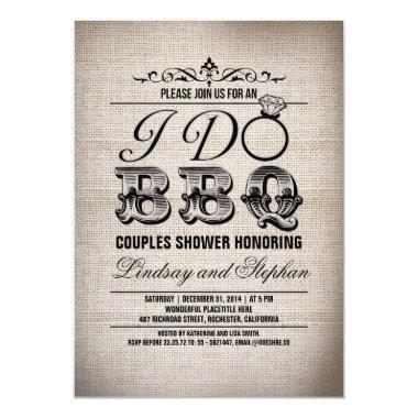 I do BBQ burlap couples shower