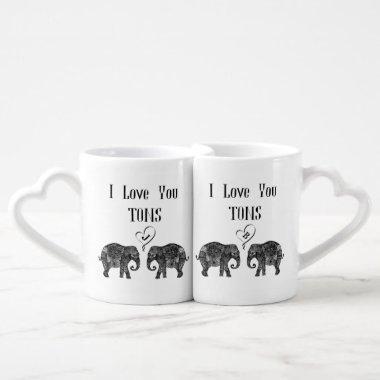 I LOVE YOU TONS/Elephant Art/Wedding Personalized Coffee Mug Set