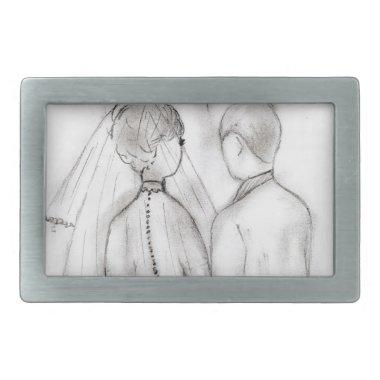 Illustrated Bride and Groom Belt Buckle