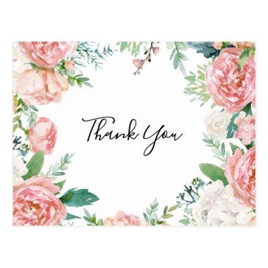 Illustrated Colorful Tropical Floral Thank You PostInvitations
