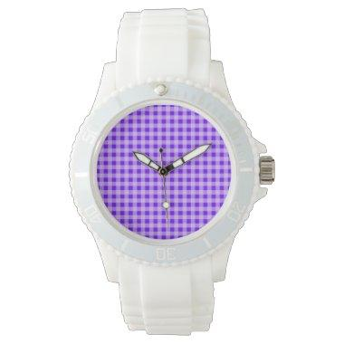 Indigo, Purple Gingham Watch